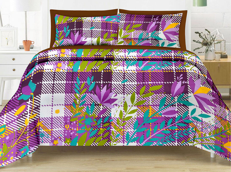 Blossom King-size Striped Pattern printed Double Bedsheet