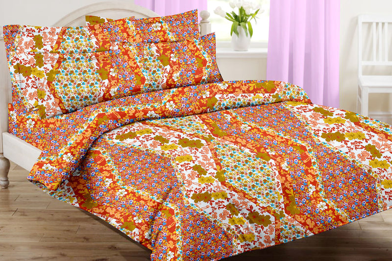 Blossom King-size Floral Pattern Printed Double Bedsheet