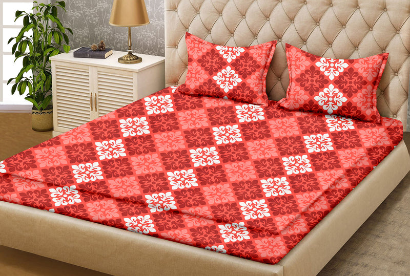 Blossom King-size Motifs Pattern Printed Double Bedsheet