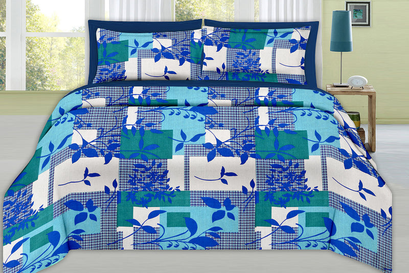 Blossom King-size Geometric Pattern printed Double Bedsheet