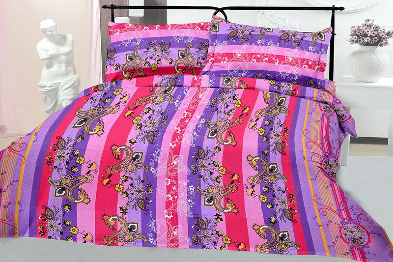 Blossom King-size Paisley Pattern printed Double Bedsheet