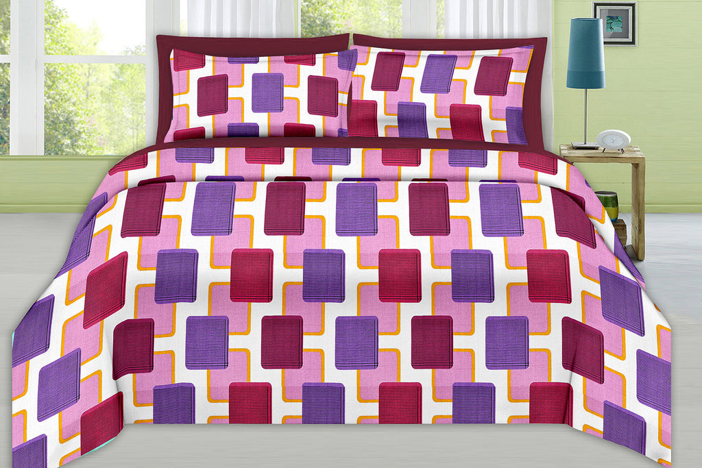 Blossom-King-size-Geometric-Pattern-printed-Double-Bedsheet