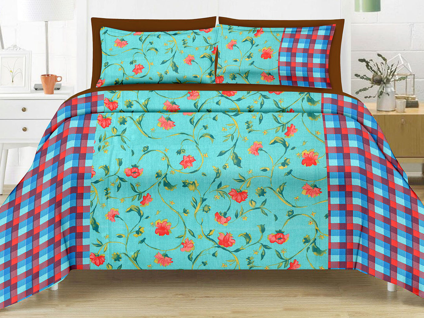 Blossom King Size Floral Pattern Printed Double Bedsheet 2