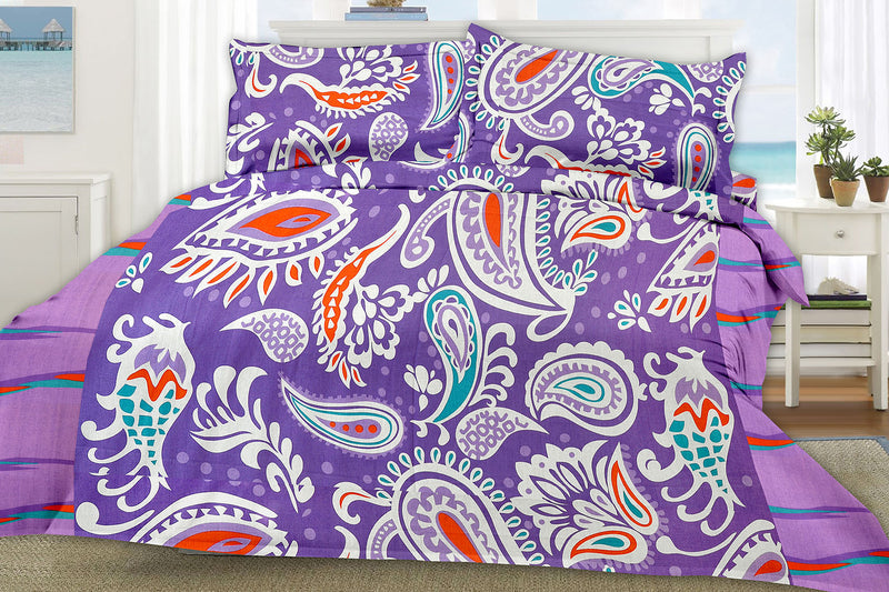 Blossom-King-size-Paisley-Pattern-printed-Double-Bedsheet