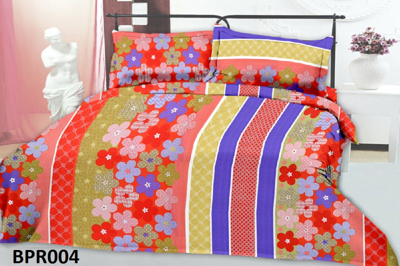 Parista Red Striped Double Bedsheet