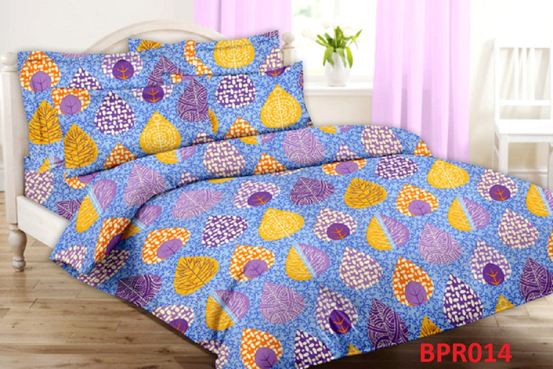 Parista Multi-Coloured Leaf-Pattern Double Bedsheet