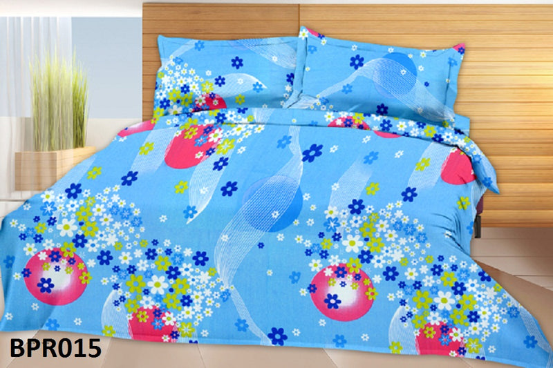 Parista Oceanic Blue And Pink Floral Pattern Double Bedsheet