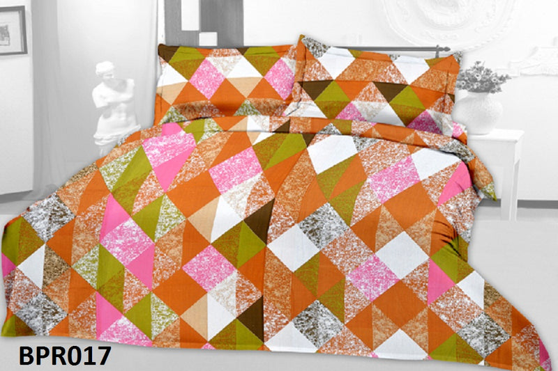 Parista Orange Check Boxes Pattern Double Bedsheet