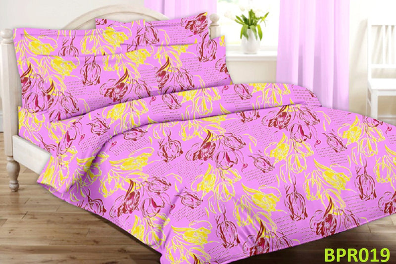 Parista Pink And Yellow Floral Pattern Double Bedsheet
