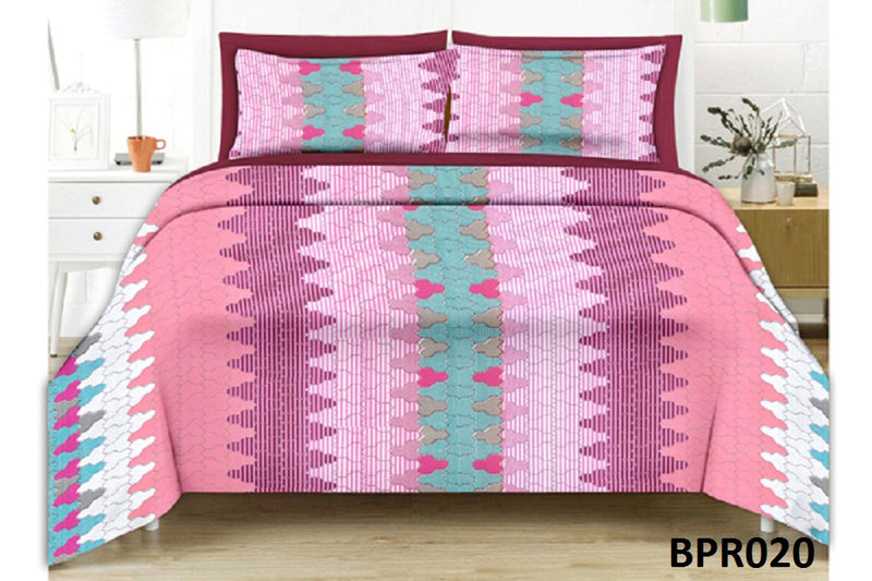 Parista Pink And Pyramid Pattern Double Bedsheet