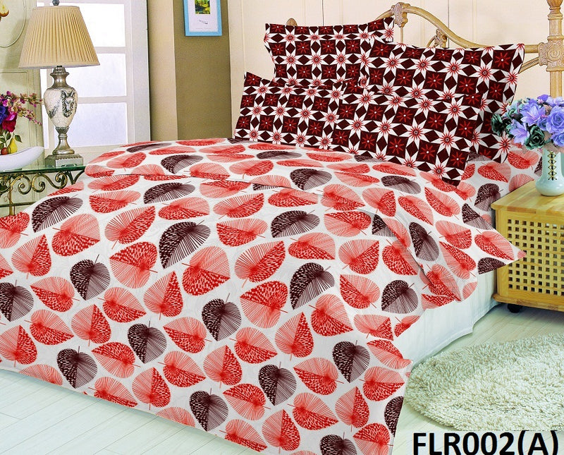 Florence King-size Leaf Pattern Printed Double Bedsheet