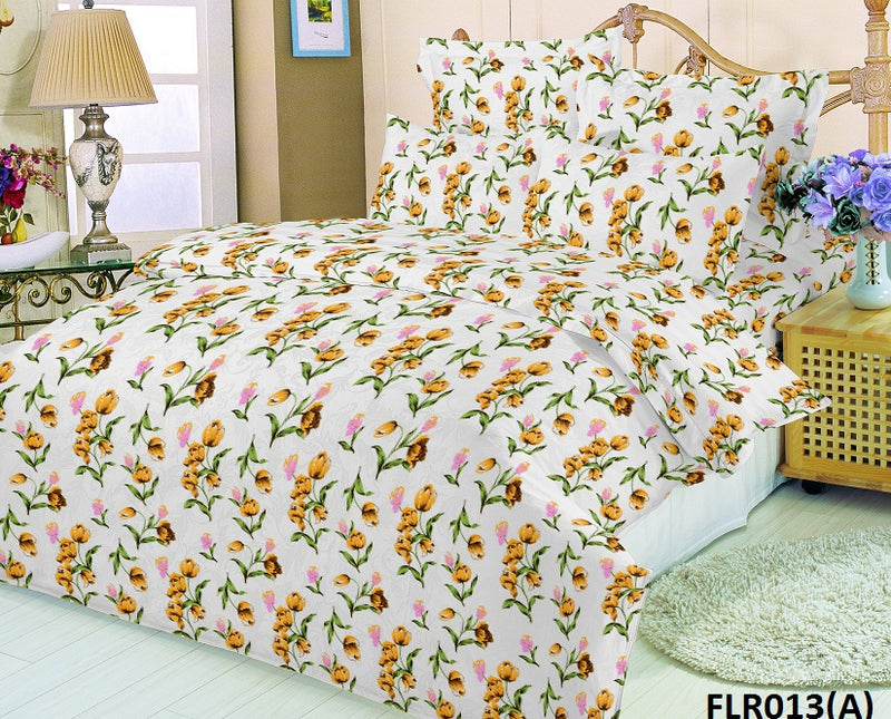 Florence King Size Blossomed Floral Pattern Printed Double Bedsheet