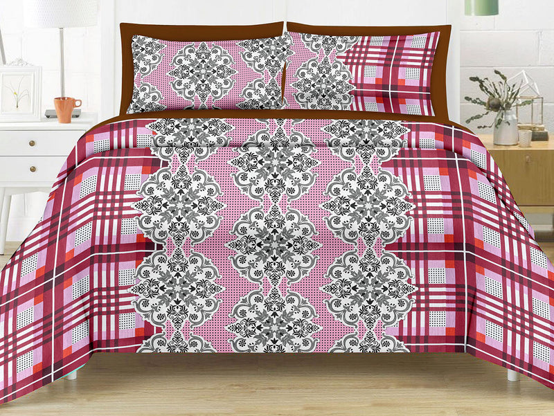 Sunflower-King-size-Checkered-Pattern-Printed-Double-Bedsheet