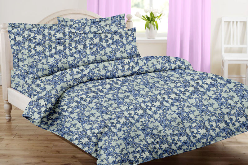 Violet King-size Motifs Pattern Printed Double Bedsheet