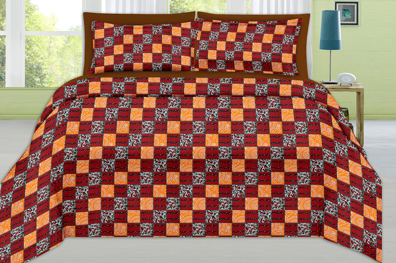 Violet King-size Checkered Pattern Printed Double Bedsheet