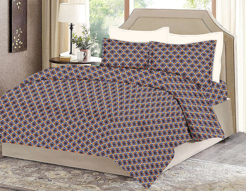 Violet King-size Motifs Pattern Printed Double Bedsheet1