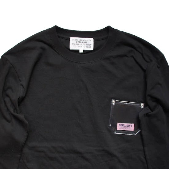 PVC Pocket Long Sleeve T-Shirt - Black