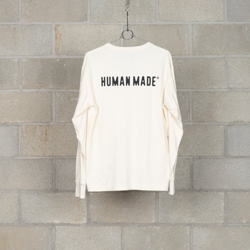 Henley Neck Long T-Shirt - White-Human Made-SUPPLIES & COMPANY