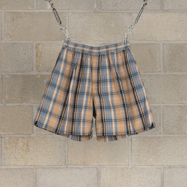 Athletic Wide Shorts - Beige Plaid-Kaptain Sunshine-SUPPLIES & COMPANY