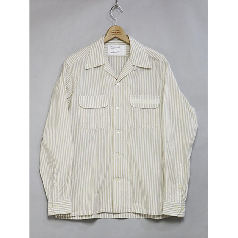 Open Collar Shirt - Beige Stripe