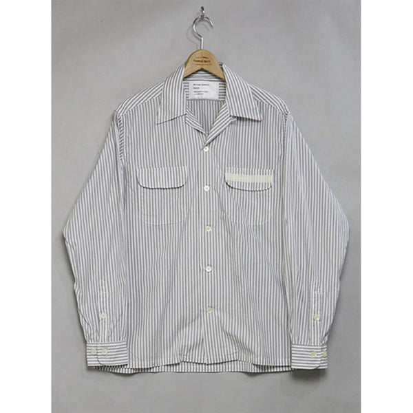Open Collar Shirt - Grey Stripe