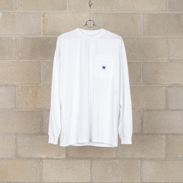 L/S Crew Neck Tee - Synthetic Jersey - White-Needles-SUPPLIES & COMPANY