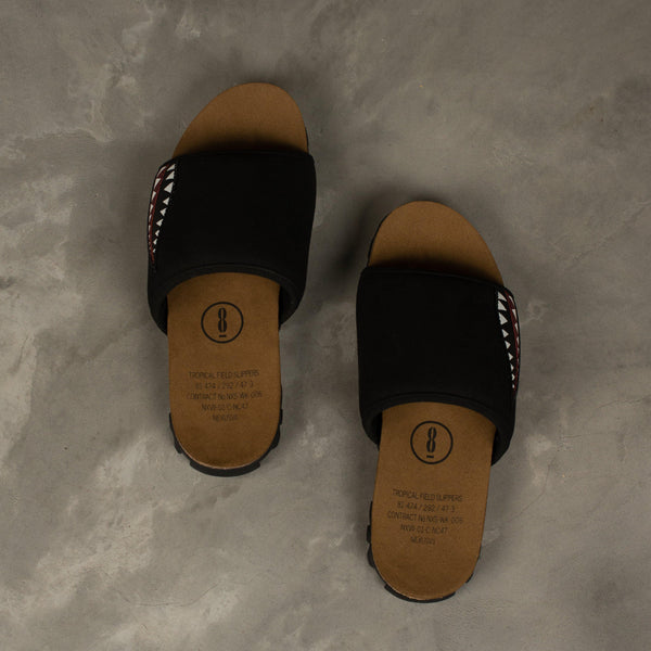 NEXUSVII. Tropical Field Slippers - Black SUPPLIES AND CO