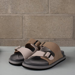 N.Hoolywood Leather Strap Sandals - Grey SUPPLIES AND CO