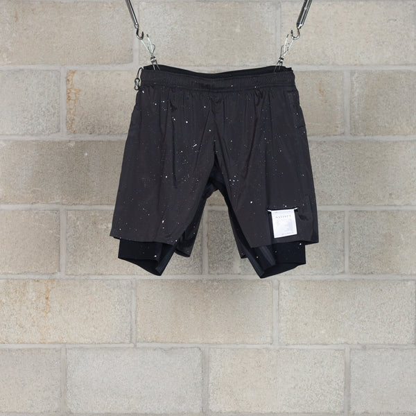 "Trail Long Distance 10"" Shorts - Black Silk Splattered-SATISFY-SUPPLIES & COMPANY"