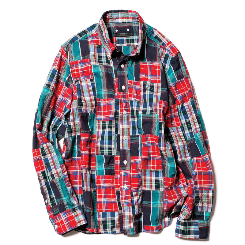 Patch Work Madras Check Basic BD Shirt - Red