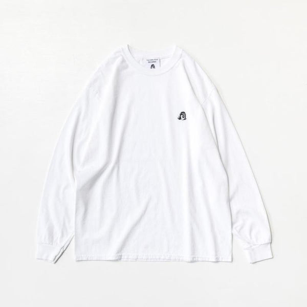 Tacoma Fuji Logo Embroidery Version Long Sleeve T-Shirt - White-Tacoma Fuji Records-SUPPLIES & COMPANY