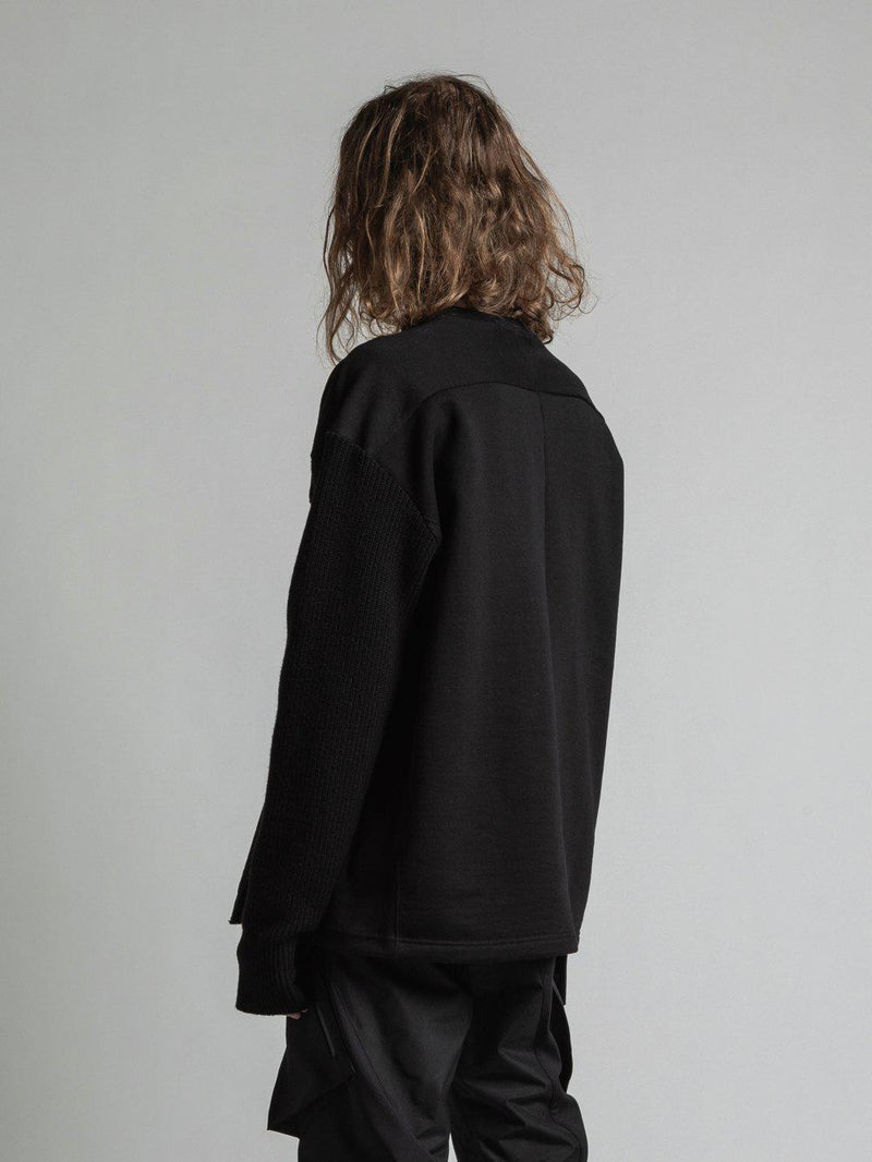 Fleece Single Sleeve Knit Sweatshirt - Black