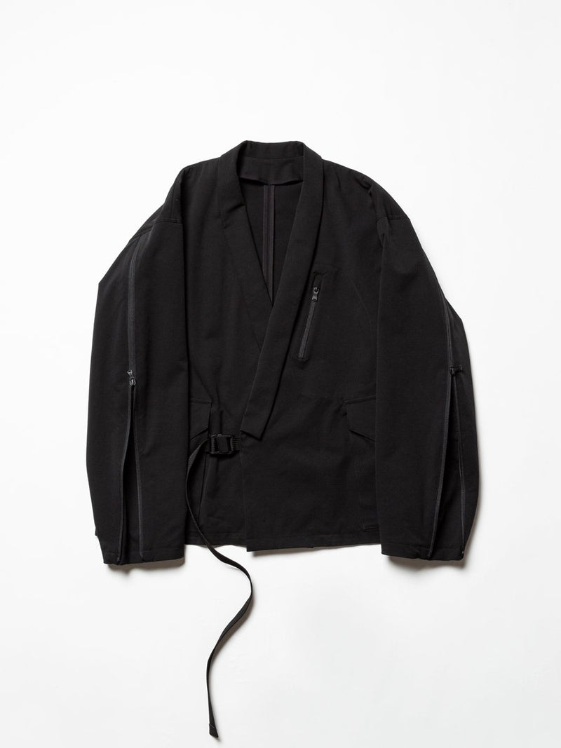 Water Repellent Stretch Cloth Kimono Collar Jacket - Black-The Viridi-anne-SUPPLIES & COMPANY