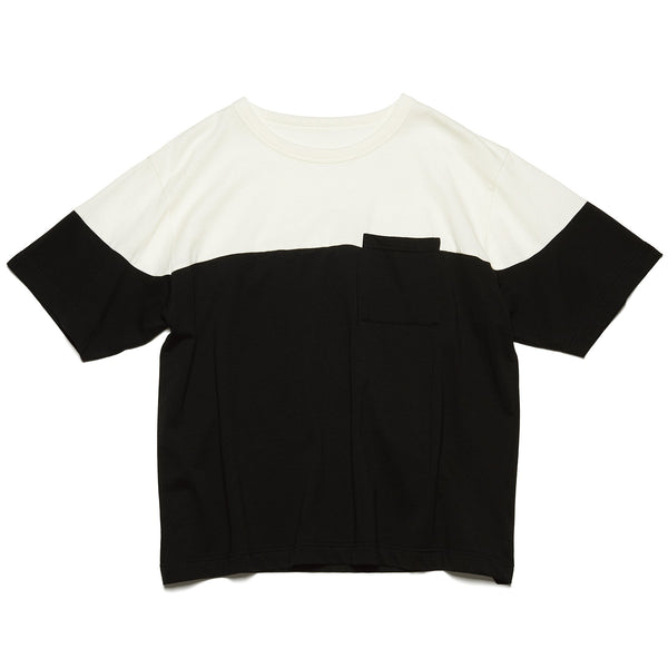 Chest Paneled Wide Pocket T-Shirt - Black