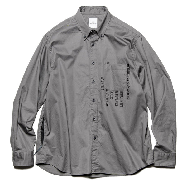 Garbardine Back Concealed Pocket Big B.D Shirt - Grey-uniform experiment-SUPPLIES & COMPANY
