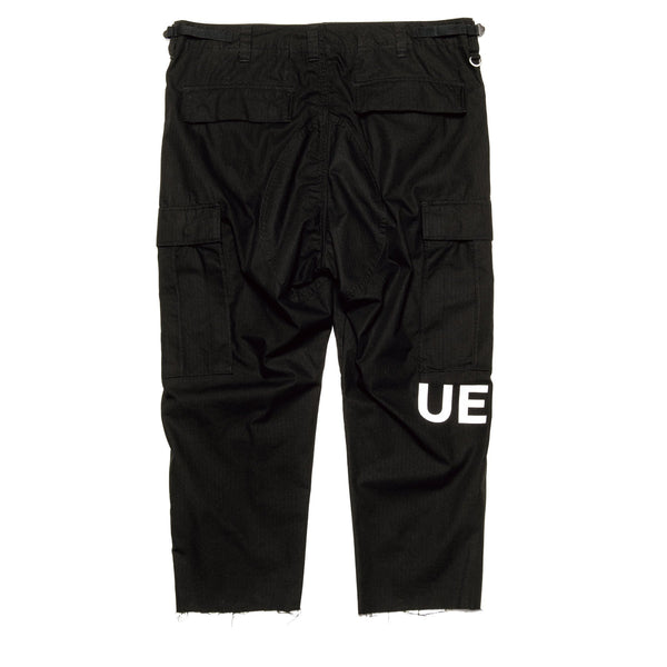 Hem Cut Off Cropped Cargo Pants - Black-uniform experiment-SUPPLIES & COMPANY