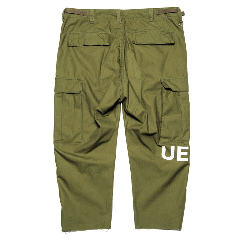 Hem Cut Off Cropped Cargo Pants - Khaki-uniform experiment-SUPPLIES & COMPANY