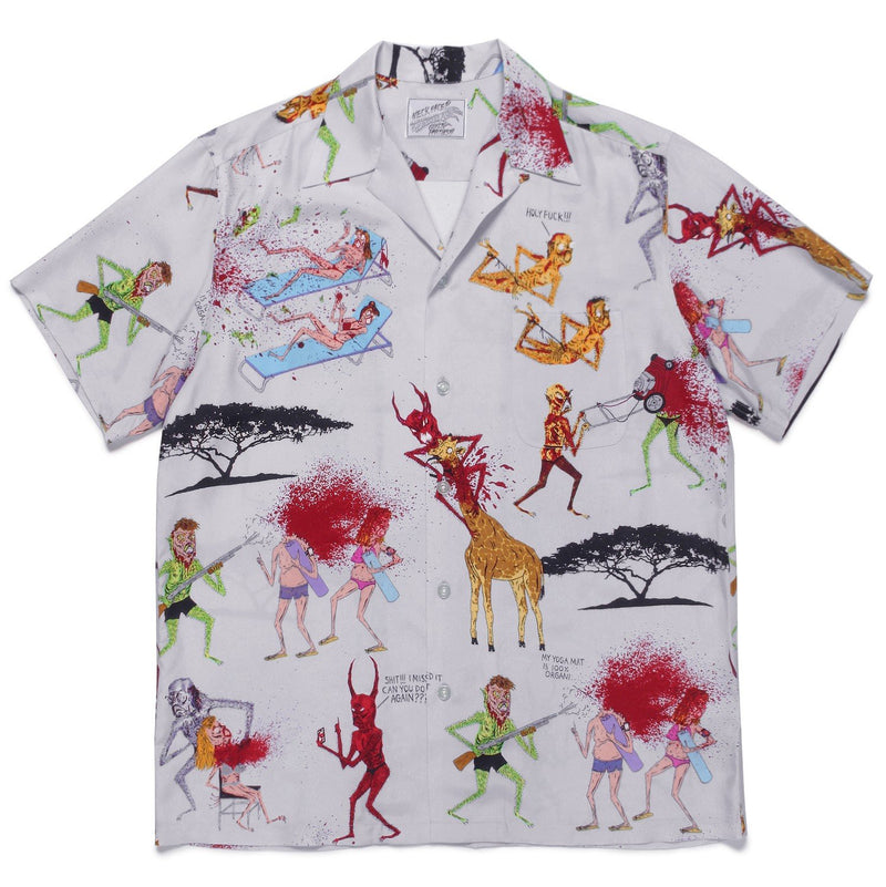Neck Face / Short Sleeve Hawaiian Shirt - Grey-Wacko Maria-SUPPLIES & COMPANY