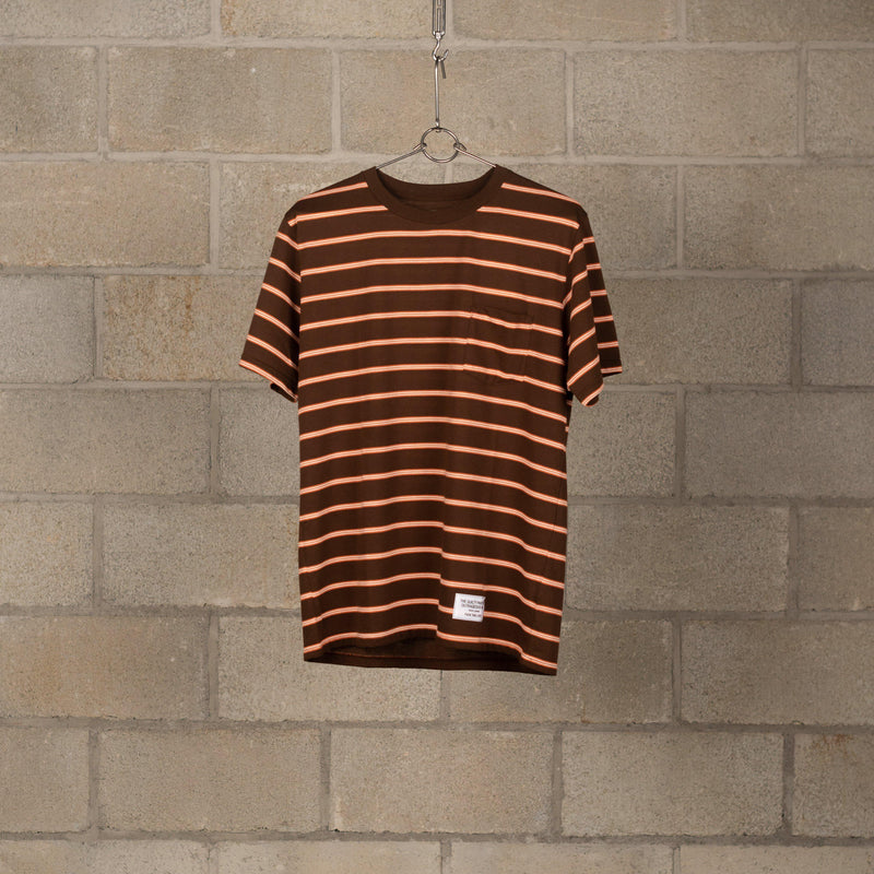 Wacko Maria Striped Crew Neck T-Shirt (Type-1) - Brown / Orange SUPPLIES AND CO