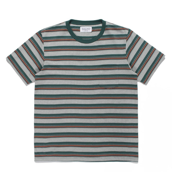Striped Crew Neck T-Shirt (Type-2) - Green-Wacko Maria-SUPPLIES & COMPANY
