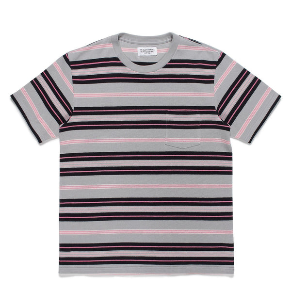 Striped Crew Neck T-Shirt (Type-3) - Pink-Wacko Maria-SUPPLIES & COMPANY