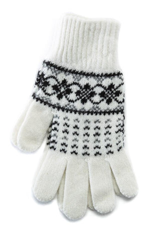 Patterned Ladies Wool Gloves White