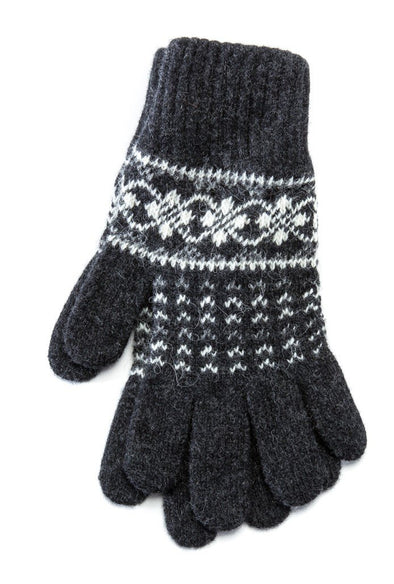 Patterned Ladies Wool Gloves Grey