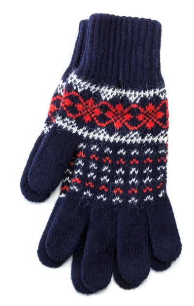 Patterned Ladies Wool Gloves Blue