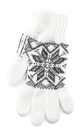 Rose Pattern Wool Gloves White/Grey