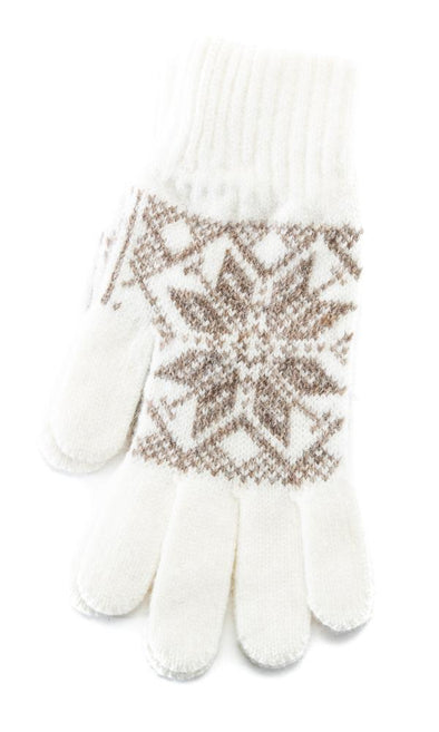 Rose Pattern Wool Gloves White/Brown