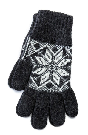 Rose Pattern Wool Gloves Grey