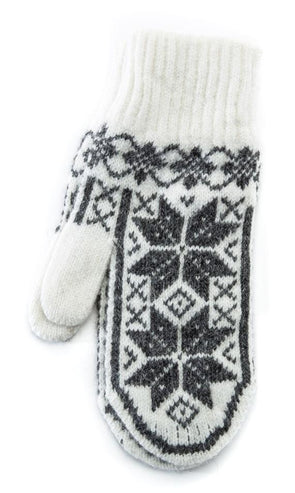 Rose Pattern Mittens White/Grey