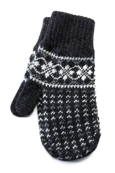 Pattern Mittens Grey/white