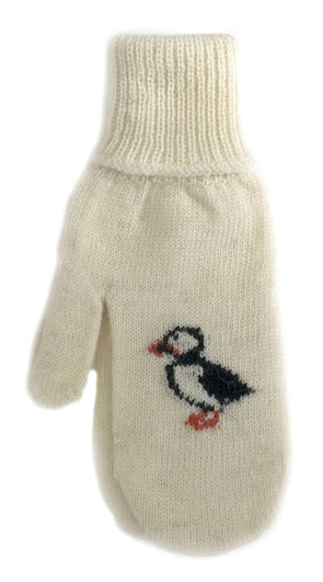 Puffin Wool Mittens White